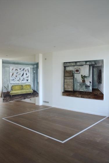 (La conférence des) Oiseaux de Paris et de sa banlieue, 2018, oil on canvas, 160 x 180 cm | Espèce d'espace, 2018, oil on canvas, 160 x 208 cm